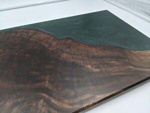 Claro Walnut Charcuterie Serving Board tray Emerald Green epoxy rustic modern
