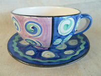 Favanol Portugal Pottery 1 Cup & Saucer Set or Soup Bowl  Hand Painted FVN3