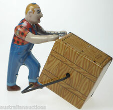 Man Moving Crate Tin Toy Worker Clockwork Collecable