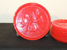 Red Plastic Dogwood Coasters Set of 10 marked on bottom NOT AN ASH TRAY (5918)