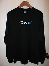DivX Div X Audio Video Computer File Technology Logo Black L/S NEW T Shirt Med