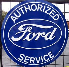 "Nostalgic FORD Blue Oval Authorized Service 12"" Tin Sign Garage Man Cave"