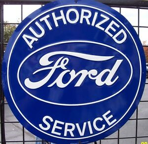 "Nostalgic FORD Blue Oval Authorized Service 12"" Tin Sign Garage Man Cave"