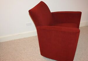 Lowenstein Chair Red Velour Built in Storage with Wheels