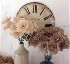 Hessian / Burlap Flowers Ivory & Natural Stemmed Bouquets Weddings x 12