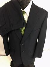 Vtg 40 50's Men's CLASSIC Navy Blue 2 BTN Gab Rockabilly GABARDINE Wool Suit 38