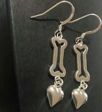 Sterling Silver Dog Bone Heart Earrings Lightweight Dangle