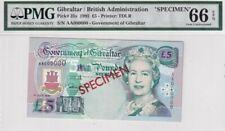 Gibraltar 5 Pounds 1995 Elizabeth II, Tarik Ibn Zeyad UNC Specimen PMG-66 RARE