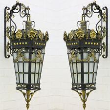 PAAR große WANDLAMPEN ca.165cm MATT-FINISH GUSSEISEN LATERNEN GRÜNDERZEIT LAMPEN