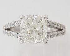 2.59 ct Platinum Cushion Cut Diamond Split Shank Engagement Ring GIA F / VVS1
