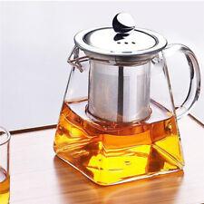 Lead-Free Glass Teapot Infuser Filter Herbal Tea Pot Leaf Strainer Kettle +A Lid