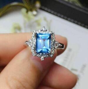 3Ct Emerald Cut Blue Topaz Diamond Halo Engagement Ring 14K White Gold Finish