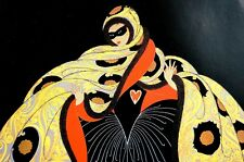 Erte 1987 MASQUERADE MASKED LADY BALL DRESS COSTUME Art Deco Matted Print