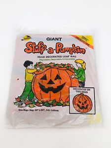 Giant 1990 Vintage Stuff-A-Pumpkin Halloween Lawn Leaf Bag Jack-O-Lantern