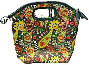 Floral Fall Fabric Lunch Bag Insulated with Handle Work, School Storage Ladies