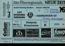 Ticket BL 92/93 1. FC Dynamo Dresden - Hamburger SV