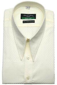 Dagger shirt Spearpoint Vintage collar Mens shirt Cream check Cotton 1930s WWII