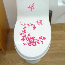 Flower Toilet Seat Wall Sticker Bathroom Decoration Decals Decor Butterfly Mural