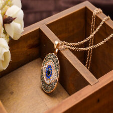Crystal Evil Eye Protection Round Pendant Gold Tone Necklace - Uk Seller