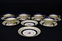 14pc Vintage Johnson Brothers Yellow, Cobalt BAND Floral Pareek Cup & Saucer Set