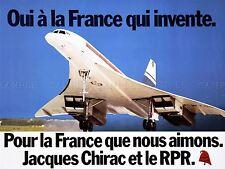Pubblicità RALLY parte la Francia Jacques Chirac CONCORDE Arte Poster Stampa lv7011