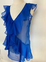 Hi There from Karen Walker Womens Blue Frilled Draped A Line Blouse 10 A11