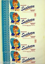 Vintage bread wrapper TRAUSCHS SUNBEAM Miss Sunbeam girl pictured Clinton Iowa