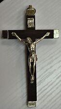 Wall Crucifix Metal Backed Dark Wood Cross Metal Corpus Quality Made In Italy