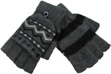 Men Winter Knitted Wool Half Finger Gloves with Mitten Flap Size M ~ Gray