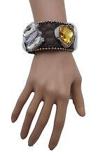 Women Brown Leather Bracelet Western Yellow Heart Silver Purple Bling Big Beads