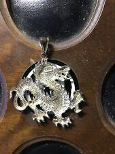 Sterling Silver Diamond Cut Dragon 44mm x 41mm Pendant 1 of a Kind 925 10g