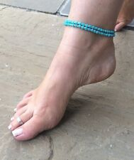 Ankle bracelet anklet Turquoise/silver seed bead hippie, festival Beach