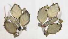"""VTG RARE 1958 CROWN TRIFARI """"ALLURE"""" Frosted Poured Glass Rhinestone Earrings"""