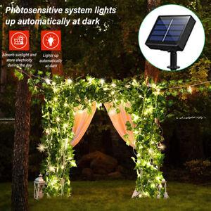 Solar LED Efeu-Lichterkette Girlande Kranz Künstliche Party Außen Grüne Blätter
