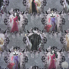 165000067 - Disney Villains Portraits Cotton Fabric by the Yard Maleficent Evil