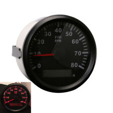 Marine Car RPM Tachometer Analogue Gauge Red LED Tacho Hour Meter 8000 RPM 85mm