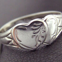 RING GENUINE REAL 925 STERLING SILVER ANTIQUE ENGRAVED HEART SIGNET DESIGN M