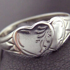 RING REAL 925 SOLID STERLING SILVER VINTAGE DOUBLE HEART SIGNET CELTIC DESIGN P