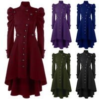 Retro Womens Gothic Steampunk Victorian Jacket Swallow Tail Long Trench Coats