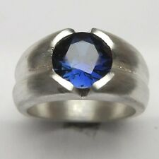 MJG STERLING SILVER MEN'S RING. 10MM LAB SAPPHIRE PRONG SET. SIZE 10