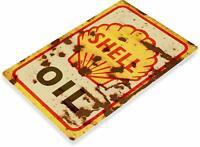 Shell Motor Oil Gas Oil Garage Auto Shop Rustic Metal Decor Sign