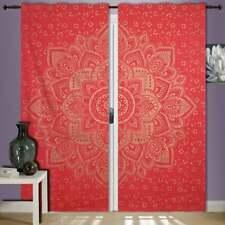 Red Gold Flower Ombre Mandala  Wall Hanging Door Window Curtain Drape Valance