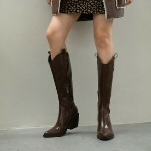 Women Western Cowboy Cowgirl Chunky Heesl Pointed Biker Knee High Boots Brown 10