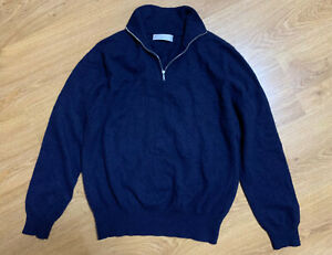 Johnstons Of Elgin Cashmere Mens 1/4 Zip Sweater Pullover Size 44 M