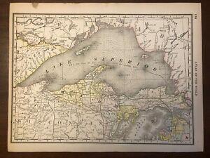1888 Lake Superior and Upper Peninsula MI Map, Rand McNally Standard World Atlas