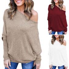 Damen Pullover Schulterfrei Bluse Strick Jumper T-Shirt Blusen Sweatshirt NEU
