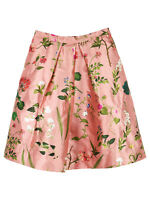 Oscar de la Renta Floral Print Gold Skirt