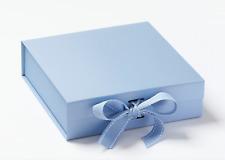 Pale Blue Ribbon Magnetic Gift box Medium Size