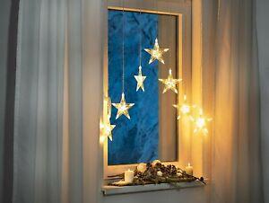 Lichtervorhang Lichterkette Fenster Sterne Weihnachtsbeleuchtung Eissterne