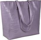 Alexis Leather Leather Tote/Top Handle Shoulder Bag For Women Printed Lilac